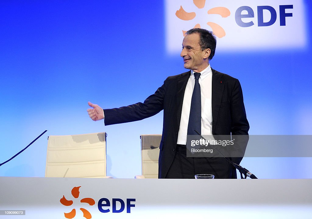 Henri Proglio, chief executive officer of Electricite de France SA (EDF), gestures during the company's results news conference in Paris, France, on Tuesday, Feb. 15, 2011. Electricite de France SA, Europe's biggest power generator, reported a 74 percent slump in 2010 earnings because of low U.S. power prices and weak natural gas rates in Italy. Photographer: Fabrice Dimier/Bloomberg via Getty Images