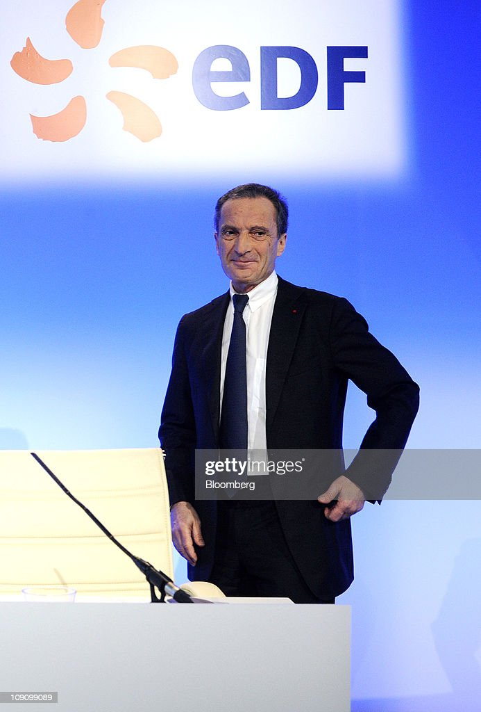 <a gi-track='captionPersonalityLinkClicked' href=/galleries/search?phrase=Henri+Proglio&family=editorial&specificpeople=569837 ng-click='$event.stopPropagation()'>Henri Proglio</a>, chief executive officer of Electricite de France SA (EDF), pauses prior to the company's results news conference in Paris, France, on Tuesday, Feb. 15, 2011. Electricite de France SA, Europe's biggest power generator, reported a 74 percent slump in 2010 earnings because of low U.S. power prices and weak natural gas rates in Italy. Photographer: Fabrice Dimier/Bloomberg via Getty Images
