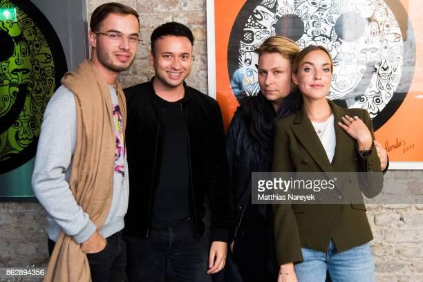Henri Reichert David Reichert guest and Larissa Laudenberger during Romulo's 'Farbenspiel' exhibition opening at Hotel Provocateur on October 18 2017...