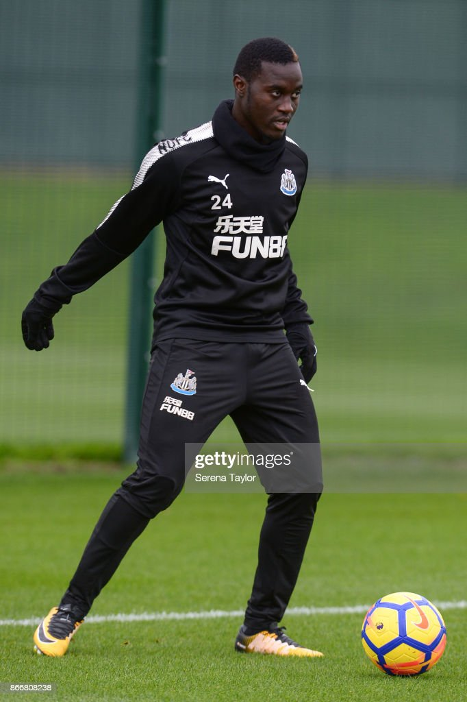 Henri Saivet controls the ball during the Newcastle United Training Session at The Newcastle United Training Centre on October 26, 2017, in Newcastle, England.