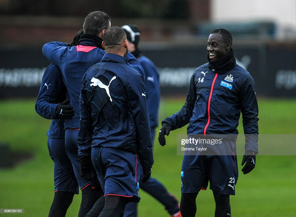 <a gi-track='captionPersonalityLinkClicked' href=/galleries/search?phrase=Henri+Saivet&family=editorial&specificpeople=5969966 ng-click='$event.stopPropagation()'>Henri Saivet</a> (R) laughs with teammates during the Newcastle United Training session at The Newcastle United Training Centre on January 22, 2016, in Newcastle upon Tyne, England.