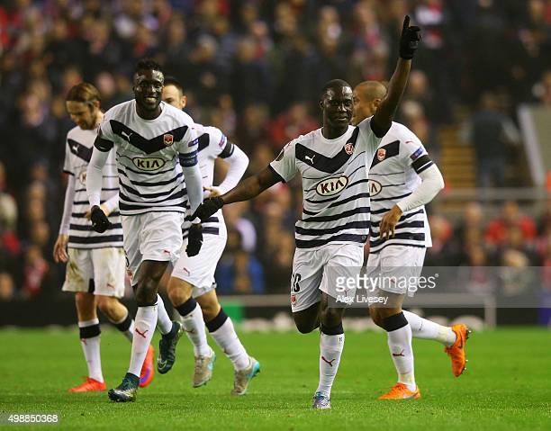 Henri Saivet of Bordeaux celebrates with team mates as he scores their first goal during the UEFA Europa League Group B match between Liverpool FC...