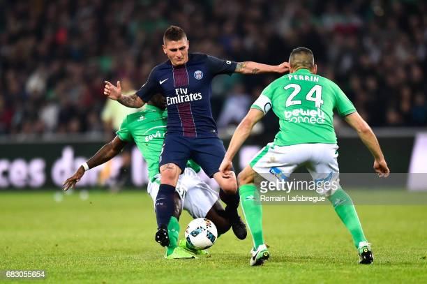 Henri Saivet of Saint Etienne Marco Verratti of Paris during the Ligue 1 match between AS Saint Etienne and Paris Saint Germain PSG at Stade...