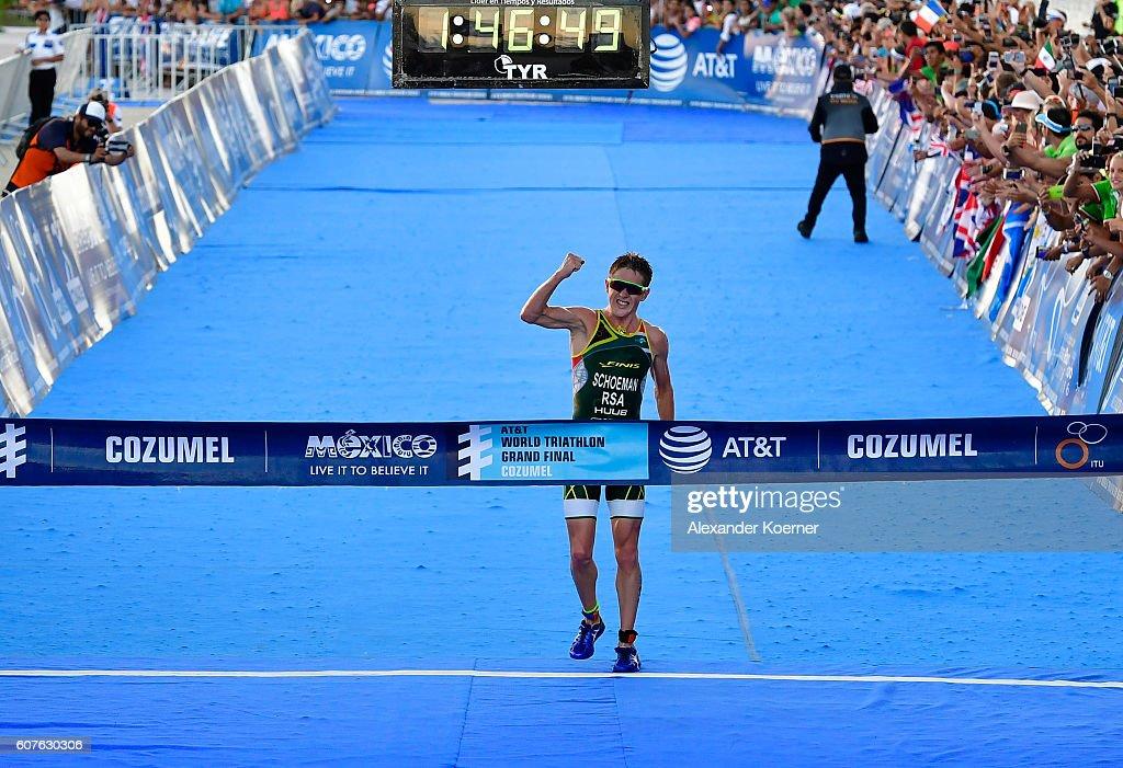 Henri Schoeman (RSA) wins the Men Elite ITU World Championship race at the Fonatur Triathlon Park on September 18, 2016 in Cozumel, Mexico. The ITU Grand Final World Championship ends tonight.