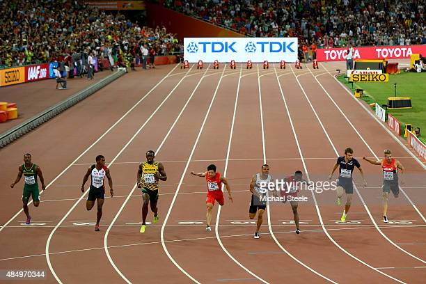 Henricho Bruintjies of South Africa Jak Ali Harvey of Turkey Usain Bolt of Jamaica Bingtian Su of China Andre De Grasse of Canada Trayvon Bromell of...