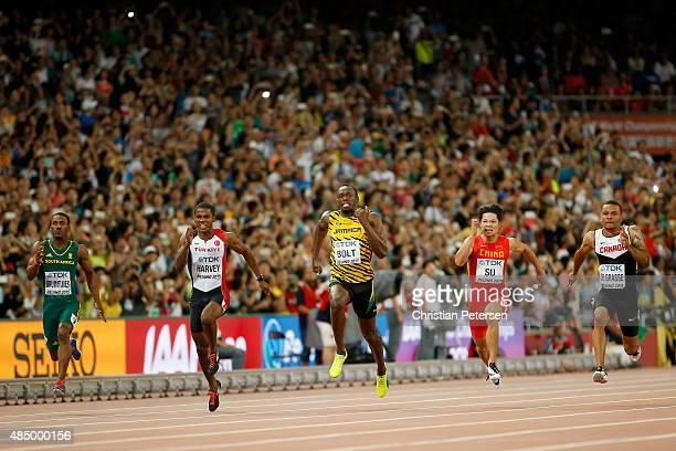 Henricho Bruintjies of South Africa Jak Ali Harvey of Turkey Usain Bolt of Jamaica Bingtian Su of China and Andre De Grasse of Canada cross the...