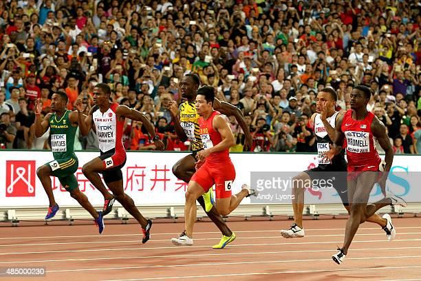 Henricho Bruintjies of South Africa Jak Ali Harvey of Turkey Usain Bolt of Jamaica Bingtian Su of China Andre De Grasse of Canada cross the finish...