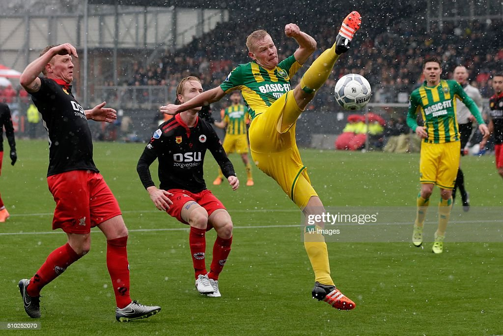 Henrico Drost of Excelsior Rotterdam, Daan Bovenberg of Excelsior Rotterdam, Tom Beugelsdijk of ADO Den Haag during the Dutch Eredivisie match between Excelsior Rotterdam and ADO Den Haag at Woudenstein stadium on February 14, 2016 in Rotterdam, The Netherlands