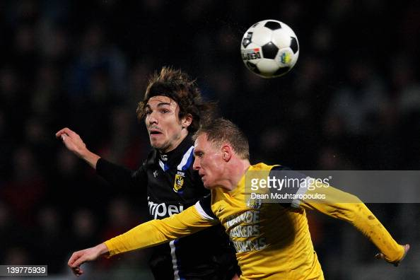 Henrico Drost of RKC and Mike Havenaar of Vitesse battle for the header during the Eredivisie match between RKC Waalwijk and Vitesse Arnhem at the...