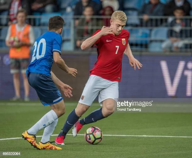 Henrik Bjordal of Norway Kamer Krasniqi of Kosovo during the Qualifying Round European Under 21 Championship 2019 between Norway v Kosovo at Ullevaal...