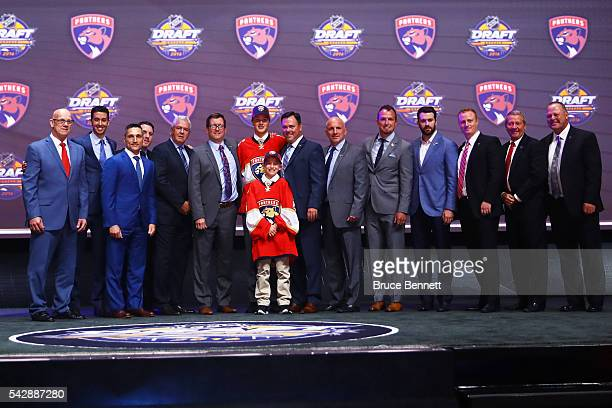 Henrik Borgstrom celebrates with the Florida Panthers after being selected 23rd during round one of the 2016 NHL Draft on June 24 2016 in Buffalo New...