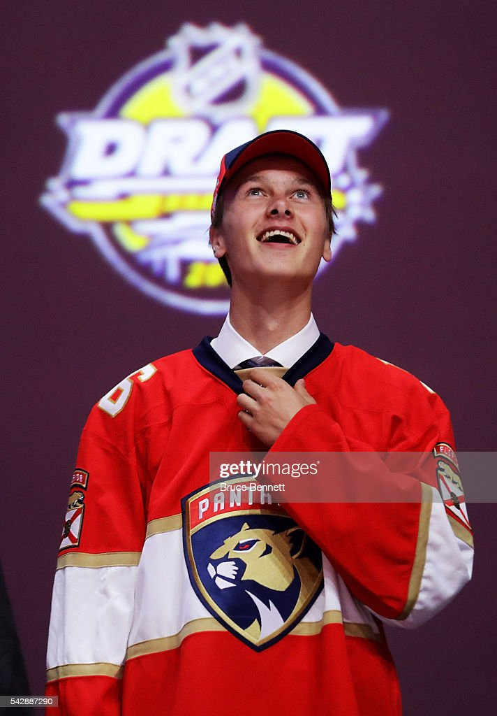 Henrik Borgstrom celebrates with the Florida Panthers after being selected 23rd during round one of the 2016 NHL Draft on June 24, 2016 in Buffalo, New York.