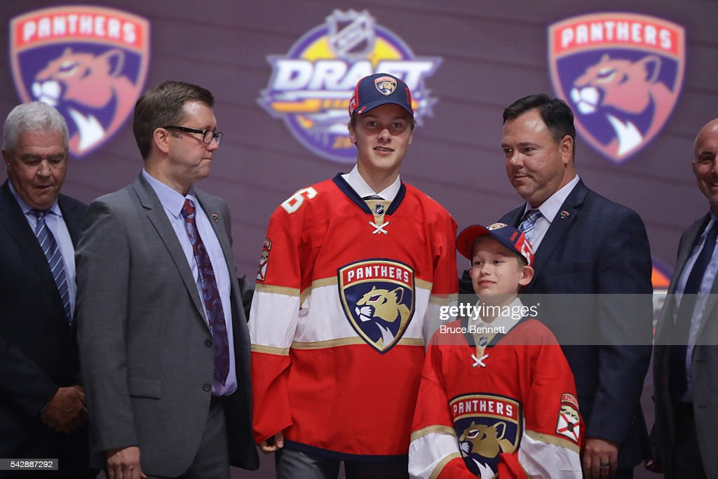 Henrik Borgstrom celebrates with the Ottawa Senators after being selected 23rd during round one of the 2016 NHL Draft on June 24, 2016 in Buffalo, New York.