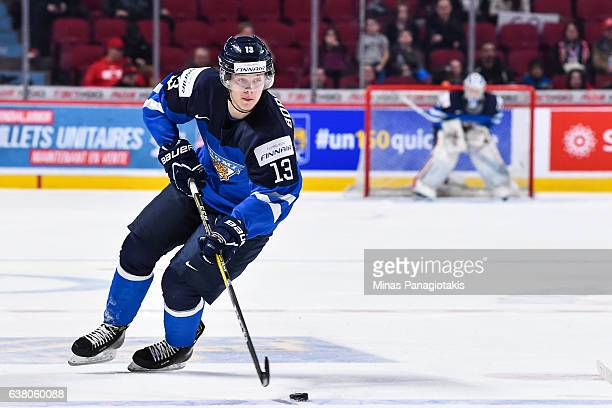 Henrik Borgstrom of Team Finland skates the puck during the 2017 IIHF World Junior Championship relegation game against Team Latvia at the Bell...