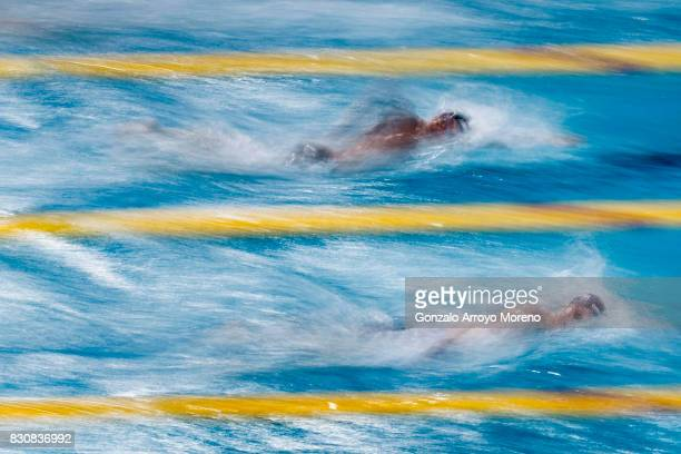 Henrik Christiansen from Norway overtakes Gabriele Detti from Italy during the Men's 1500m Freestyle Final of the FINA/airweave Swimming World Cup...