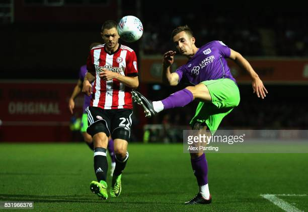 Henrik Dalsgaard of Brentford and Joe Bryan of Bristol City in action during the Sky Bet Championship match between Brentford and Bristol City at...