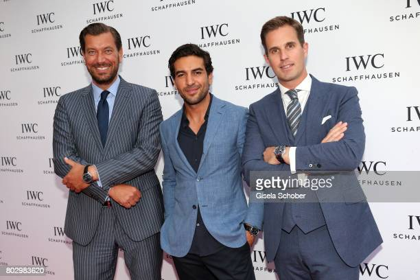 Henrik Ekdahl Managing Director IWC Northern Europe Elyas M'Barek and CEO IWC Schaffhausen Christoph GraingerHerr attend the exclusive grand opening...