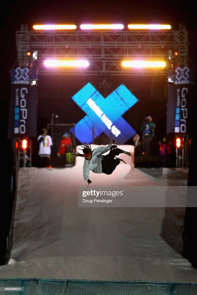 Henrik Harlaut of Sweden flies to first place in the GoPro Ski Big Air final at Winter X-Games 2014 Aspen at Buttermilk Mountain on January 25, 2014 in Aspen, Colorado.