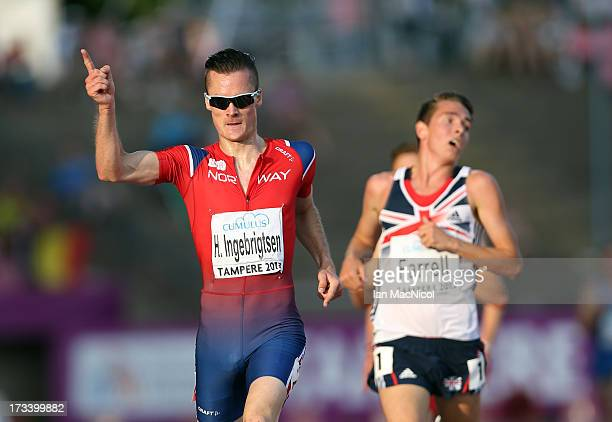 Henrik Ingebrigtsen of Norway defeats Thomas Farrell of Great Britain to win the Men's 5000m Final during day three of The European Athletics U23...