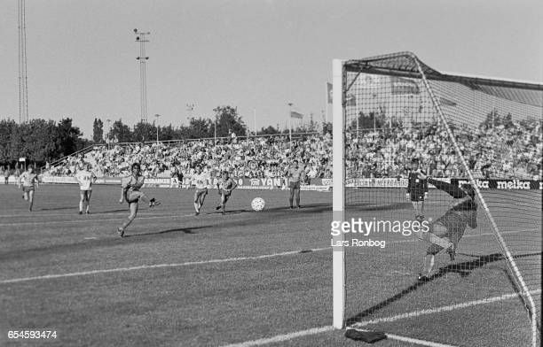 Henrik Jensen of Brondby IF scores the 21 goal during the Danish 1 division match between Brondby IF and Kastrup Boldklub at Brondby Stadion on...