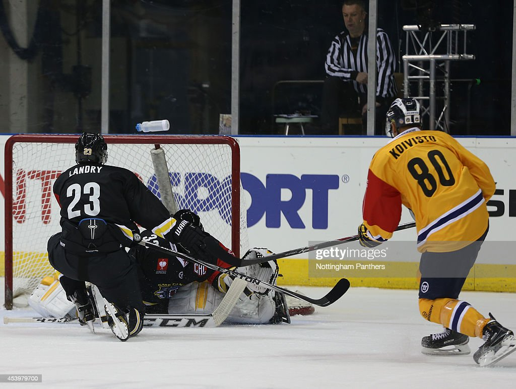 Henrik Koivisto #80 of Lukko Rauma scores during the Champions Hockey League group stage game at the National Ice Centre in Nottingham, between Nottingham Panthers and Lukko Rauma on August 22, 2014 in Nottingham, United Kingdom.