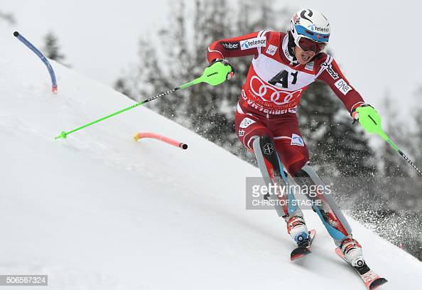 Henrik Kristoffersen from Norway competes during the first run of the final of the FIS Alpine Ski World Cup Men's Slalom competition on January 24...