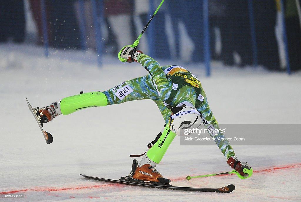 Henrik Kristoffersen of Finland crossing the finish line during the Audi FIS Alpine Ski World Cup Men's Slalom on November 11, 2012 in Levi, Finland.