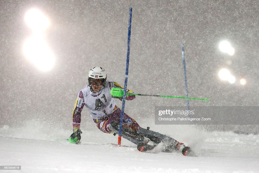 Henrik Kristoffersen of Norway competes during the Audi FIS Alpine Ski World Cup Men's Slalom on January 27 2015 in Schladming Austria