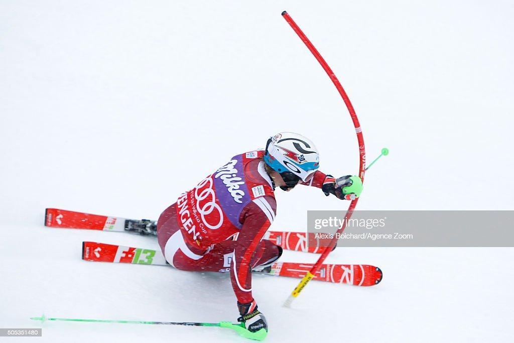 Henrik Kristoffersen of Norway competes during the Audi FIS Alpine Ski World Cup Men's Slalom on January 17 2016 in Wengen Switzerland
