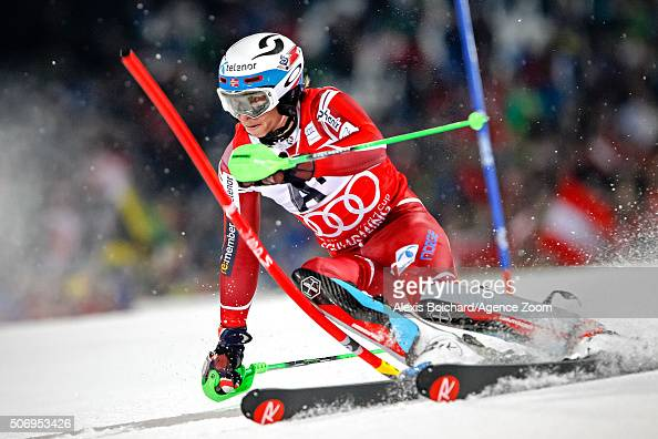 Henrik Kristoffersen of Norway competes during the Audi FIS Alpine Ski World Cup Men's Slalom on January 26 2016 in Schladming Austria