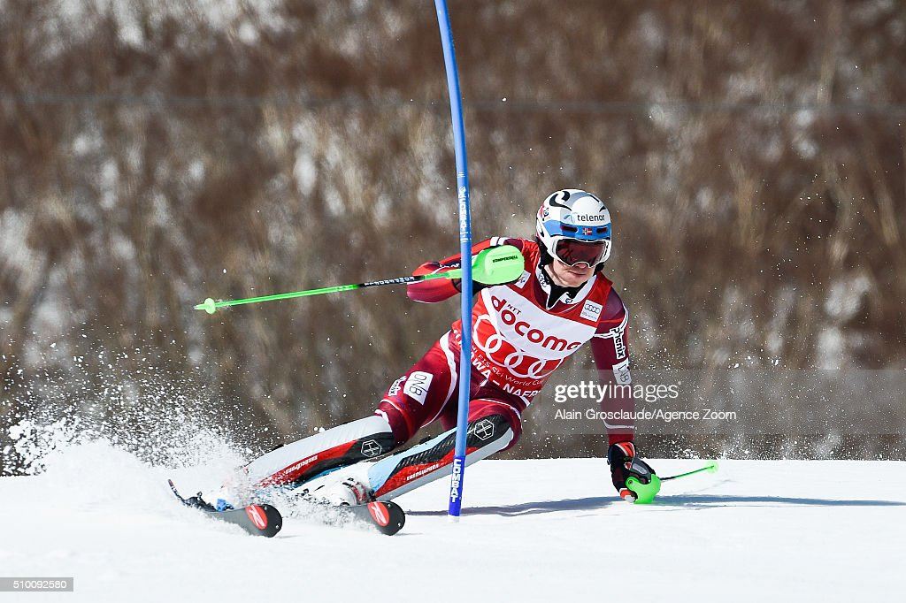 Henrik Kristoffersen of Norway competes during the Audi FIS Alpine Ski World Cup Men's Slalom on February 14, 2016 in Naeba, Japan.