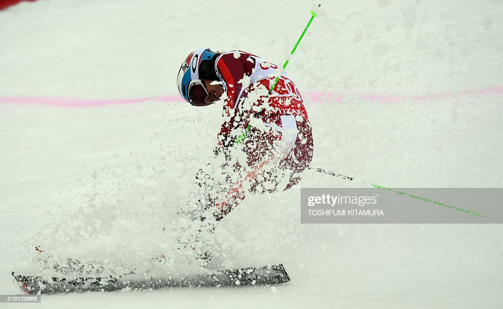 Henrik Kristoffersen of Norway crosses the finish line during the FIS Ski World Cup 2015/2016 men's slalom competition second run at the Naeba ski resort in Yuzawa town, Niigata prefecture on February 14, 2016. AFP PHOTO / TOSHIFUMI KITAMURA / AFP / TOSHIFUMI KITAMURA
