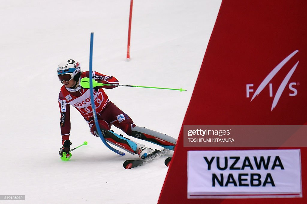 Henrik Kristoffersen of Norway skies down the course during the FIS Ski World Cup 2015/2016 men's slalom competition second run at the Naeba ski resort in Yuzawa town, Niigata prefecture on February 14, 2016. AFP PHOTO / TOSHIFUMI KITAMURA / AFP / TOSHIFUMI KITAMURA