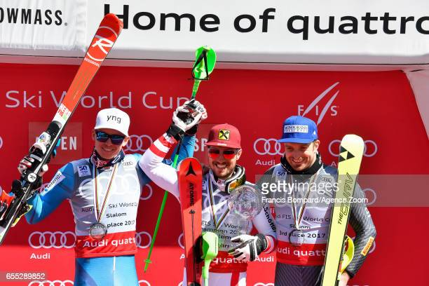 Henrik Kristoffersen of Norway takes 2nd place in the overall standings Marcel Hirscher of Austria wins the globe in the overall standings Manfred...