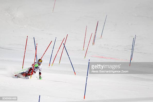 Henrik Kristoffersen of Norway takes the 1st place during the Audi FIS Alpine Ski World Cup Men's Slalom on January 24 2016 in Kitzbuehel Austria