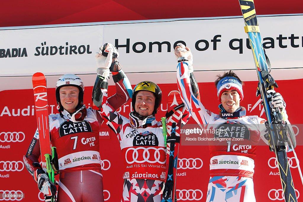 Henrik Kristoffersen of Norway takes the 2nd place Marcel Hirscher of Austria takes the 1st place and Victor Muffat Jeandet of France takes the 3rd...