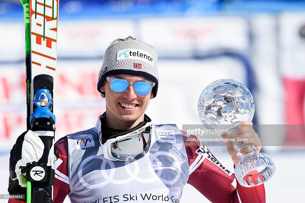 Henrik Kristoffersen of Norway wins the slalom crystal globe during the Audi FIS Alpine Ski World Cup Finals Men's Slalom and Women's Giant Slalom on...
