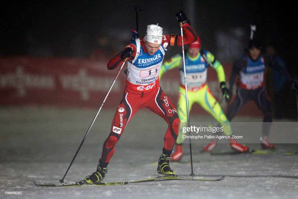 Henrik L'Abee-Lund of Norway takes 2nd place during the IBU Biathlon World Cup Men's Relay on January 04, 2013 in Oberhof, Germany.