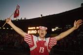 Henrik Larsen of Denmark celebrates victory after the UEFA European Championships 1992 Final between Denmark and Germany held at the Ullevi Stadium...