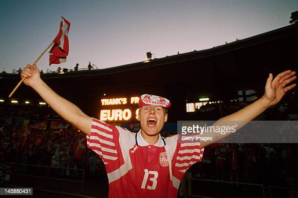 Henrik Larsen of Denmark celebrates victory after the UEFA European Championships 1992 Final between Denmark and Germany held at the Ullevi Stadium...