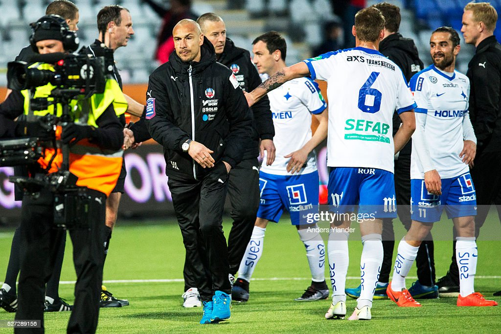 Henrik Larsson, head coach of Helsingborgs IF after the Allsvenskan match between IFK Norrkoping and Helsingborgs IF at Ostgotaporten on May 2, 2016 in Norrkoping, Sweden.