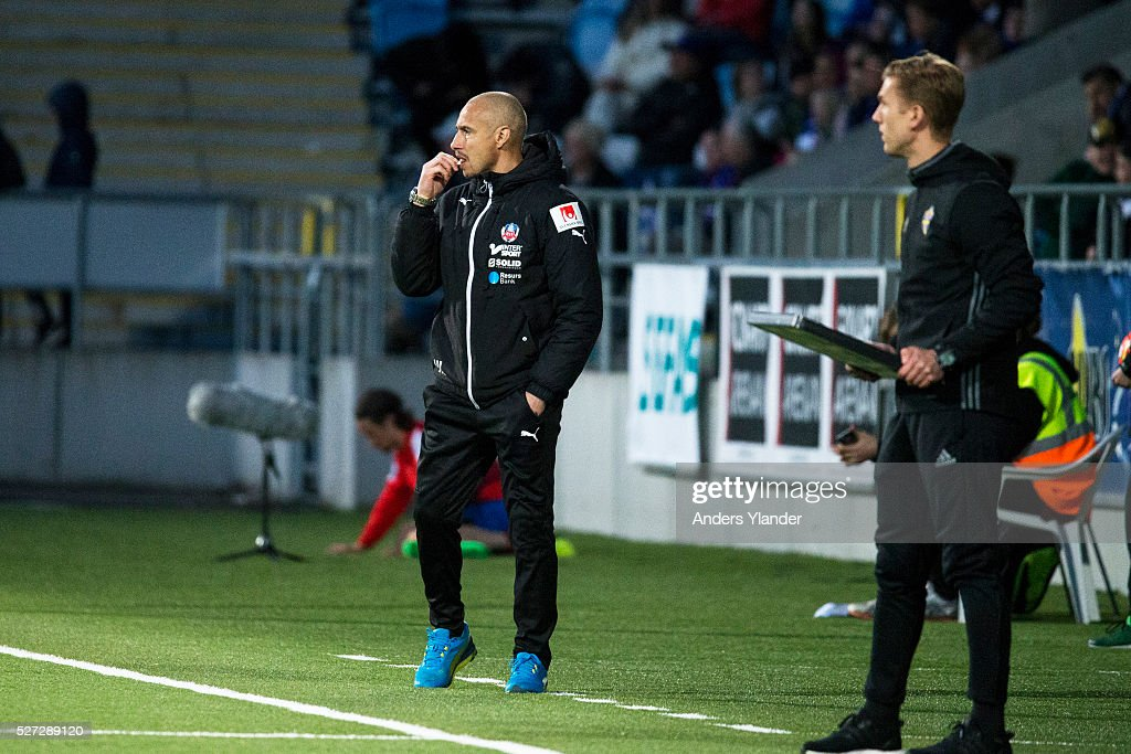 Henrik Larsson, head coach of Helsingborgs IF during the Allsvenskan match between IFK Norrkoping and Helsingborgs IF at Ostgotaporten on May 2, 2016 in Norrkoping, Sweden.