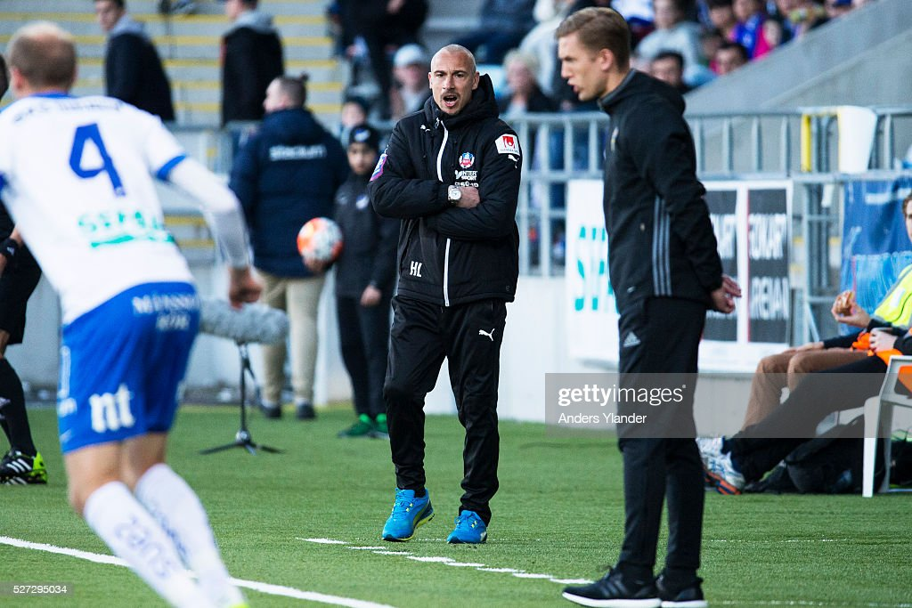 Henrik Larsson, head coach of Helsingborgs IF in action during the Allsvenskan match between IFK Norrkoping and Helsingborgs IF at Ostgotaporten on May 2, 2016 in Norrkoping, Sweden.