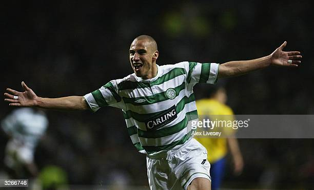 Henrik Larsson of Celtic celebrates scoring the first goal for Celtic during the UEFA Cup Quarter Final match between Celtic and Villarreal at Celtic...