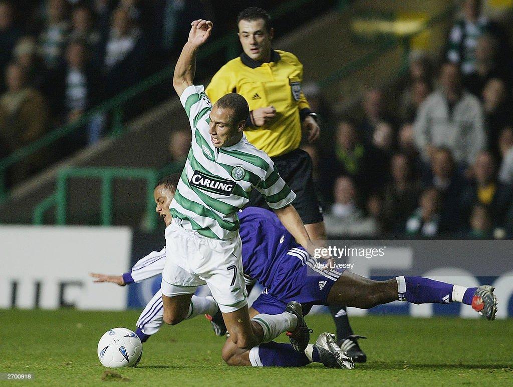 Henrik Larsson of Celtic Vincent Kompany of Anderlecht