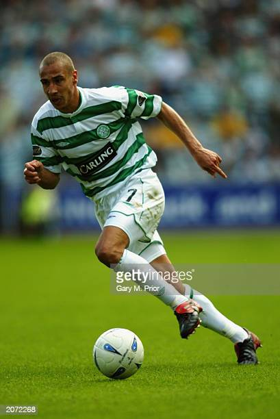 Henrik Larsson of Celtic runs with the ball during the Bank of Scotland Scottish Premier League match between Kilmarnock and Celtic held on May 25...