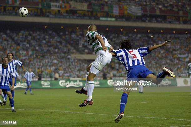 Henrik Larsson of Celtic scores a goal during the UEFA Cup Final match between Celtic and FC Porto on May 21 2003 at the Estadio Olimpico Seville...