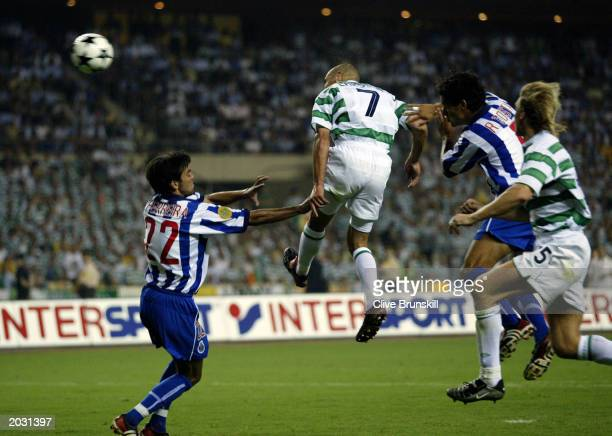 Henrik Larsson of Celtic scores the second equalising goal during the UEFA Cup Final match between Celtic and FC Porto held on May 21 2003 at the...