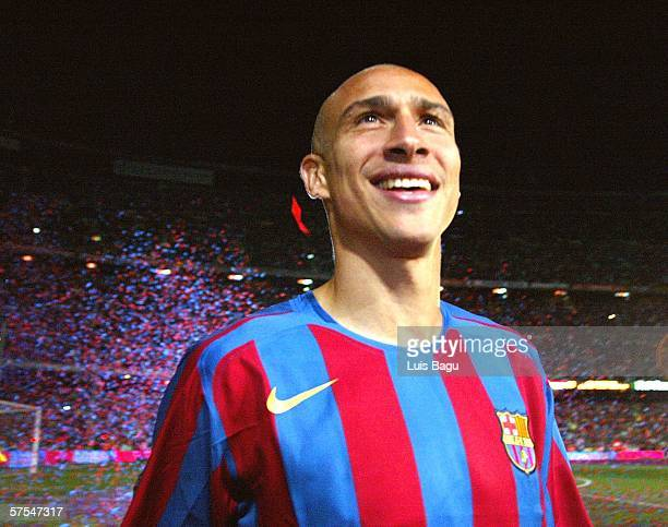 Henrik Larsson of FC Barcelona celebrating after a La Liga match between FC Barcelona and Espanyol at the Camp Nou stadium on May 6 2006 played in...
