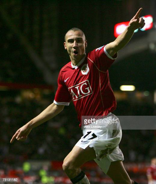 Henrik Larsson of Manchester United celebrates his subsequently disallowed goal during the FA Cup sponsored by EON Fourth Round match between...